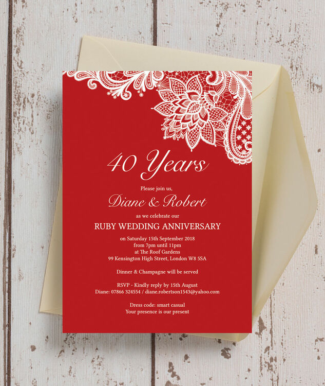 Red lace inspired 40th ruby wedding anniversary invitation from red lace inspired 40th ruby wedding anniversary invitation additional 2 stopboris Choice Image