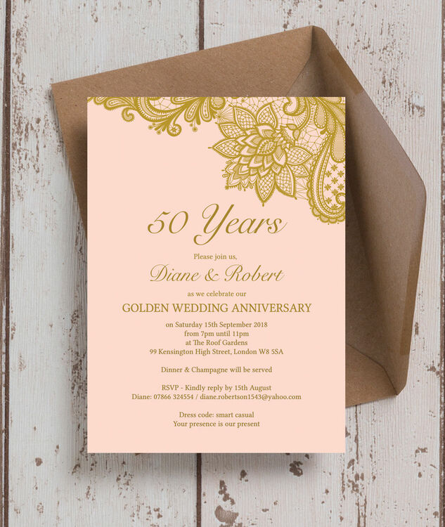 Gold Lace Inspired 50th Golden Wedding Anniversary Invitation From