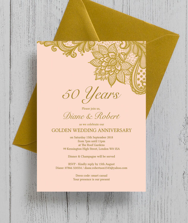 Golden Wedding Anniversary Invitations Wording: Gold Lace Inspired 50th / Golden Wedding Anniversary