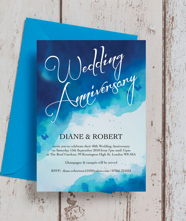 ... Blue Watercolour 40th / Ruby Wedding Anniversary Invitation Additional 3