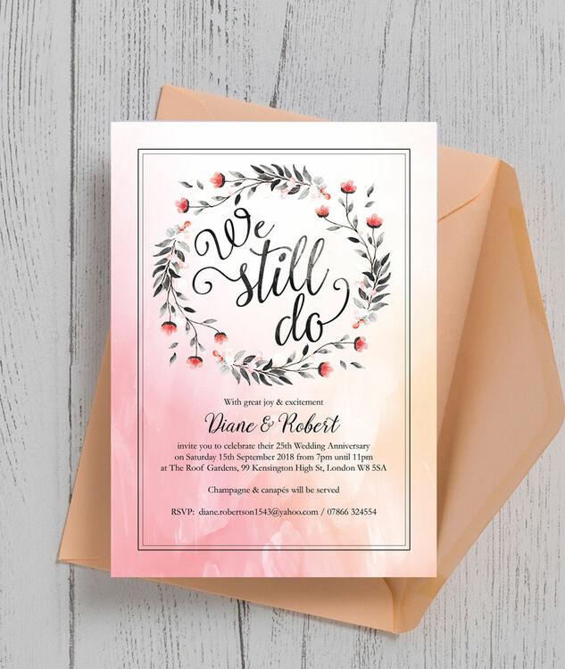 we still do 25th silver wedding anniversary invitation from 0 90