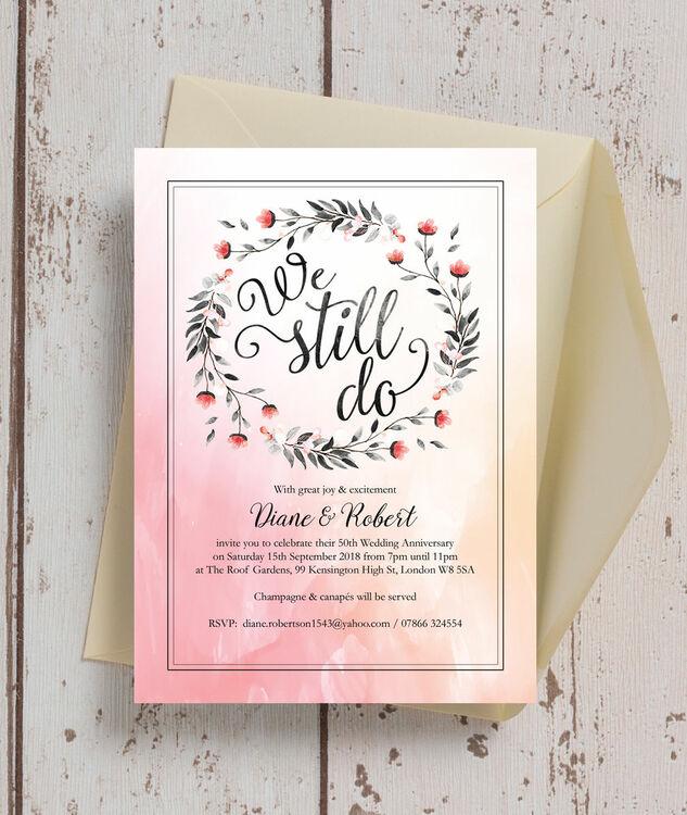 We Still Do\' 50th / Golden Wedding Anniversary Invitation from £1.00 ...
