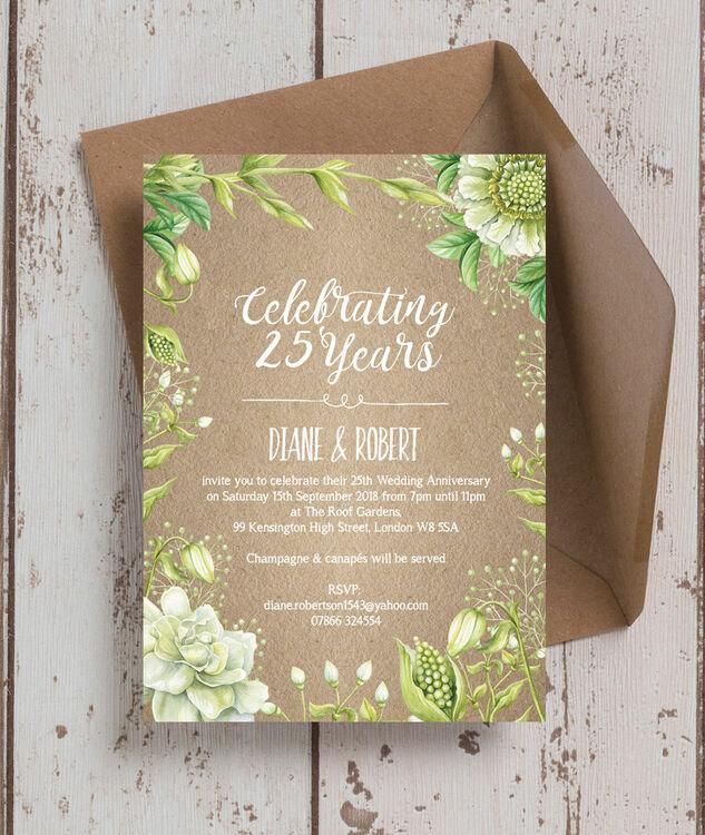 Rustic Greenery 25th Silver Wedding Anniversary Invitation