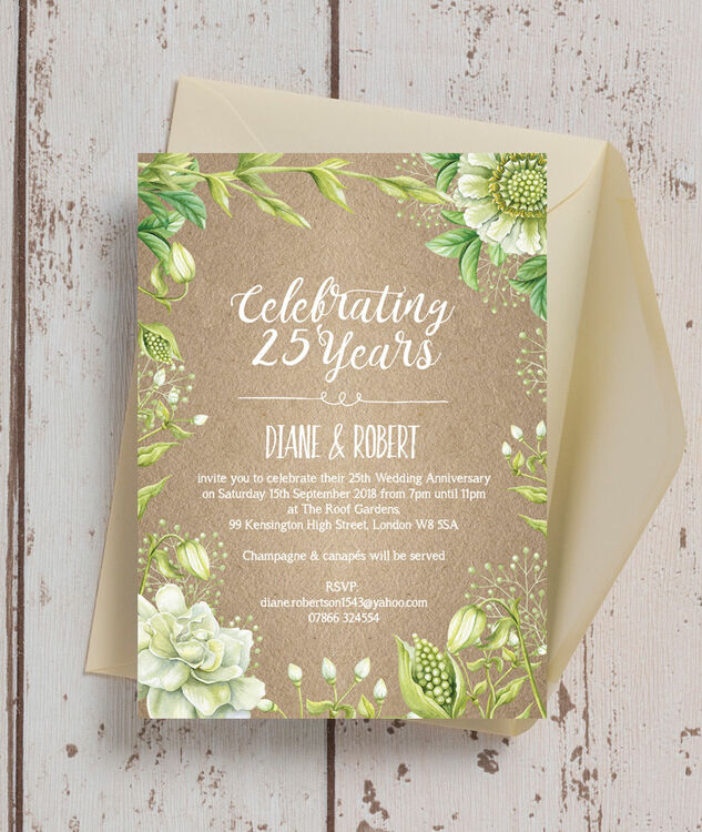 Rustic Greenery 25th / Silver Wedding Anniversary Invitation additional 1 ...
