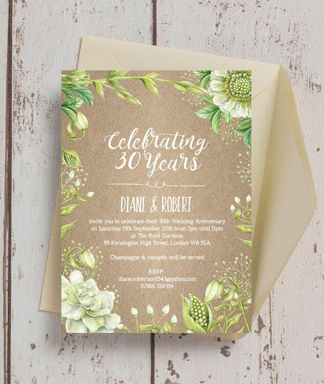rustic greenery 30th pearl wedding anniversary invitation from