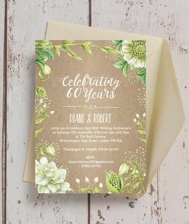 Rustic Greenery 60th Diamond Wedding Anniversary Invitation from