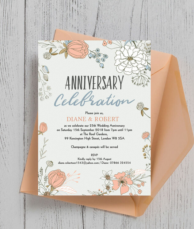 Wild Flowers 25th / Silver Wedding Anniversary Invitation additional 1 ...
