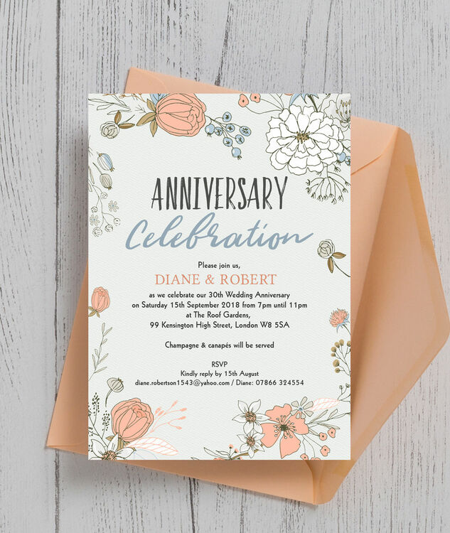 Wild flowers 30th pearl wedding anniversary invitation from 100 each wild flowers 30th pearl wedding anniversary invitation additional 2 solutioingenieria Images