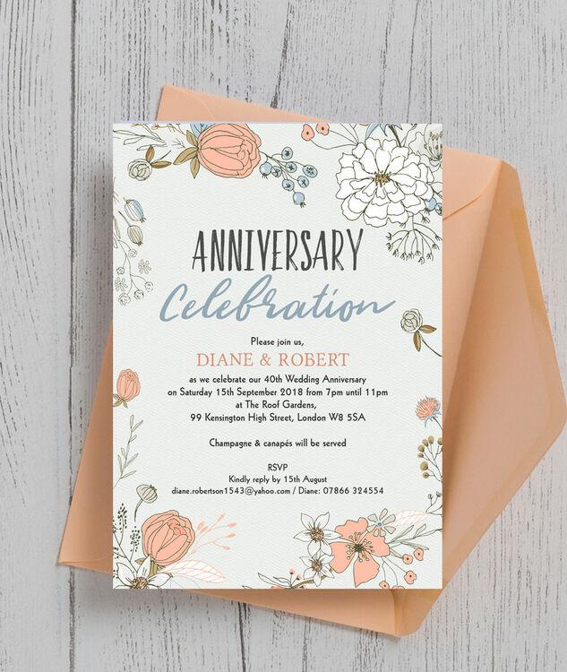 Superb Wild Flowers 40th / Ruby Wedding Anniversary Invitation Additional 1 ...