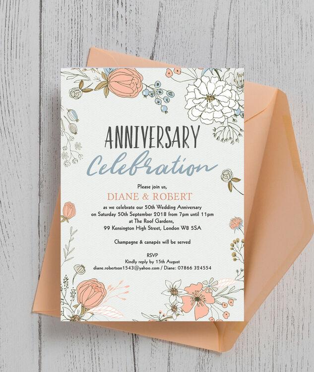 Flowers For Golden Wedding Anniversary: Wild Flowers 50th / Golden Wedding Anniversary Invitation