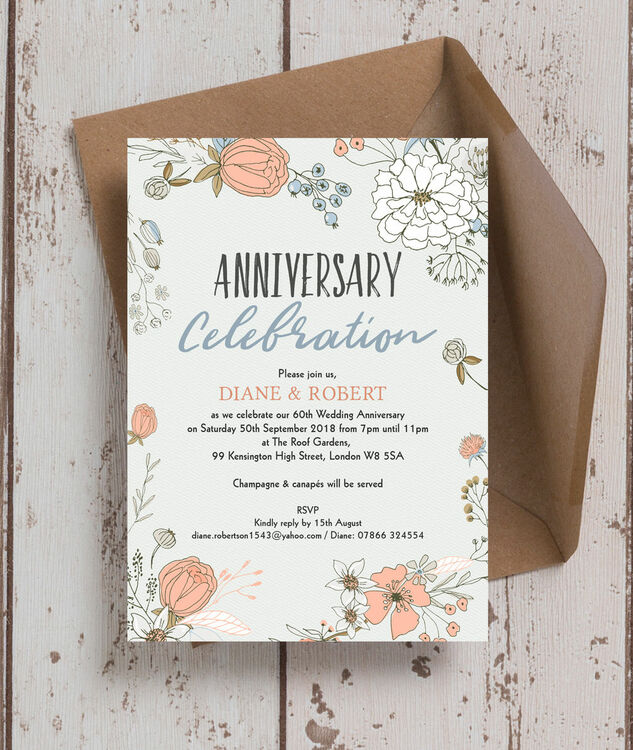 ... Wild Flowers 60th / Diamond Wedding Anniversary Invitation Additional 2