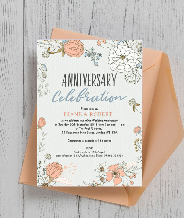 Wild Flowers 60th Diamond Wedding Anniversary Invitation from
