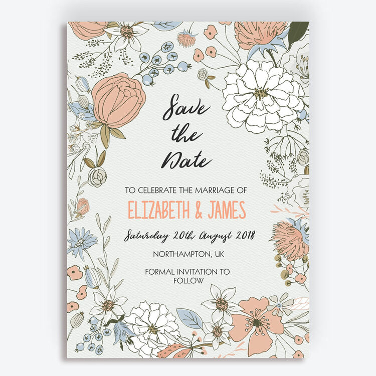 Wild Flowers For Wedding: Wild Flowers Wedding Save The Date From £0.85 Each