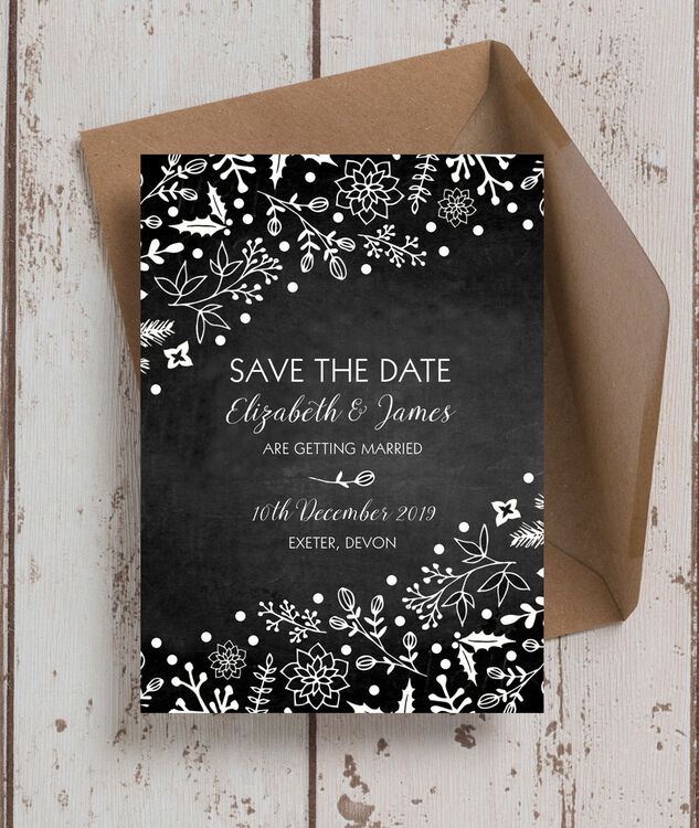 winter chalkboard wedding save the date from 0 85 each