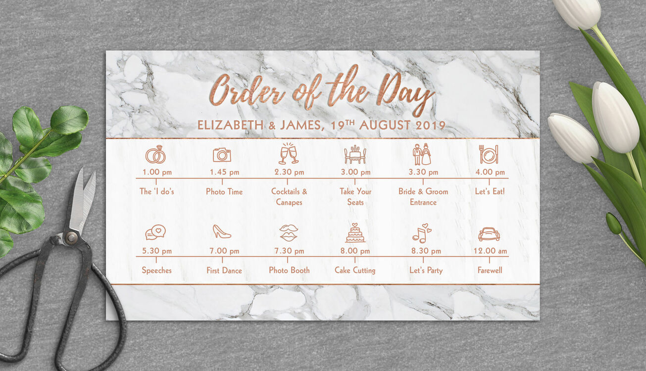 Marble & Copper Wedding Timeline Cards From £1.50 Each