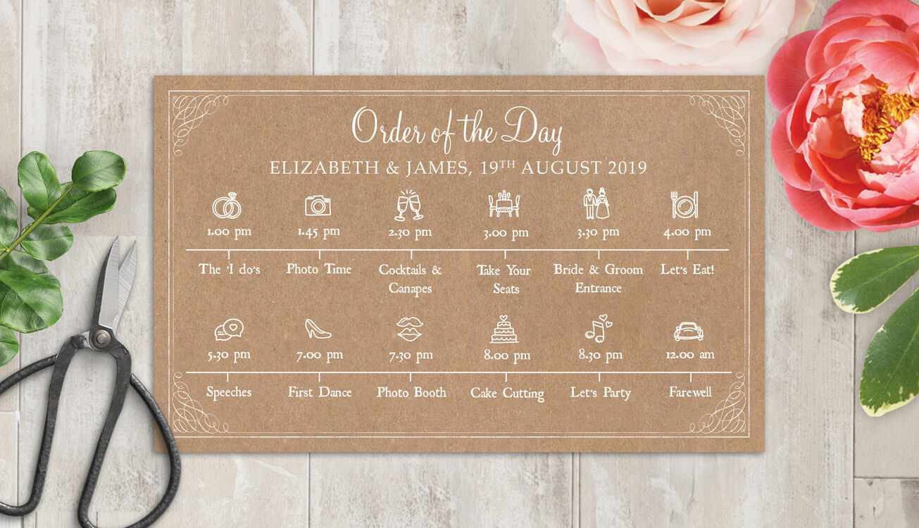 Rustic Kraft Wedding Timeline Cards From £1.50 Each