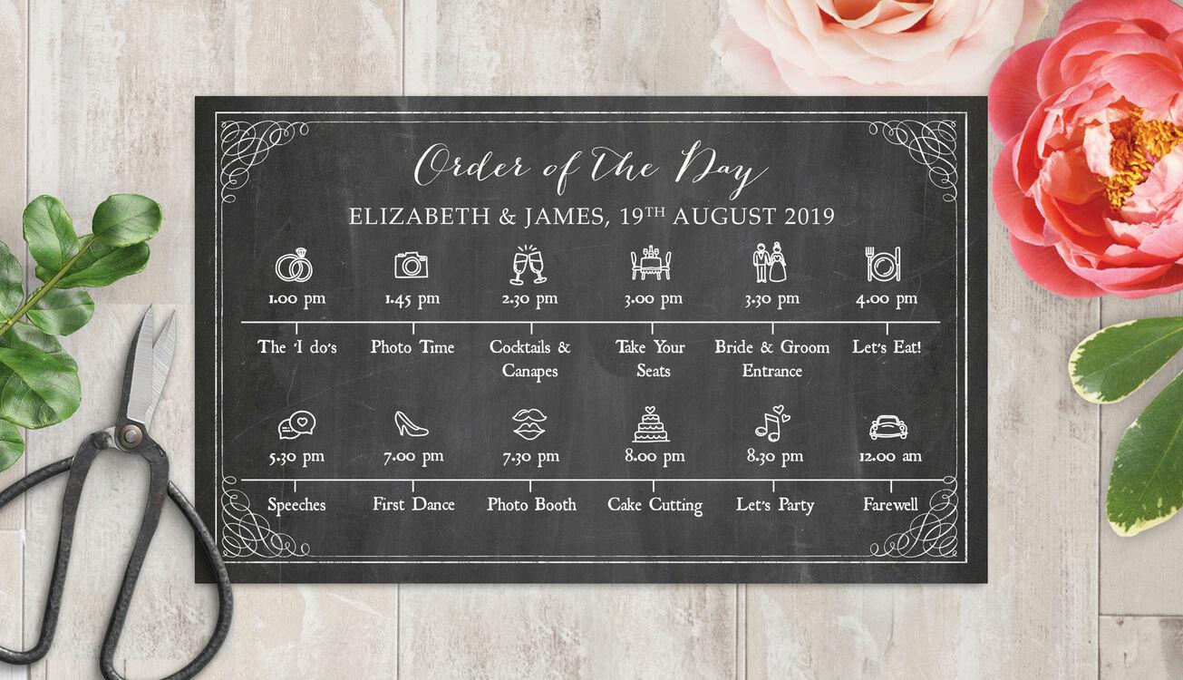 Rustic Chalkboard Wedding Timeline Cards From £1.50 Each
