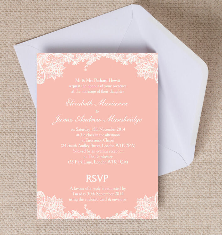 Romantic Lace Wedding Invitation from £1.00 each