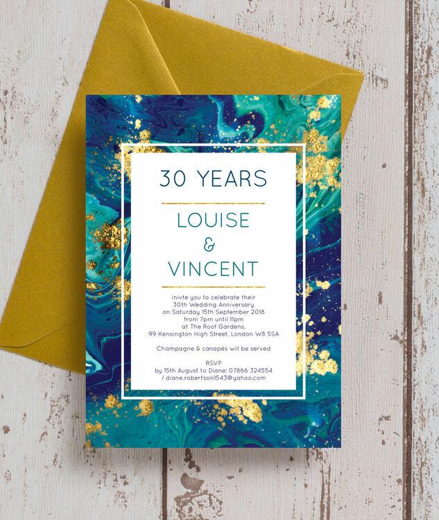 30th Wedding Anniversary Invitations: Teal & Gold Ink 30th / Pearl Wedding Anniversary