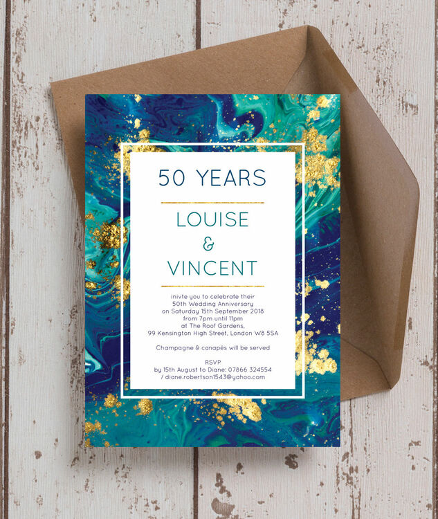 Teal Gold Ink 50th Golden Wedding Anniversary Invitation From
