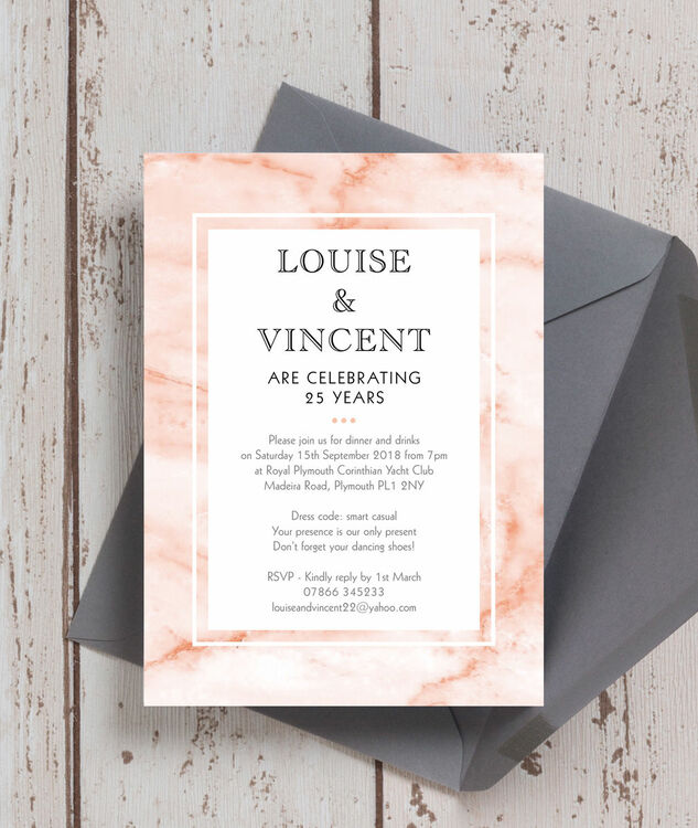 blush marble 25th silver wedding anniversary invitation from 0 90
