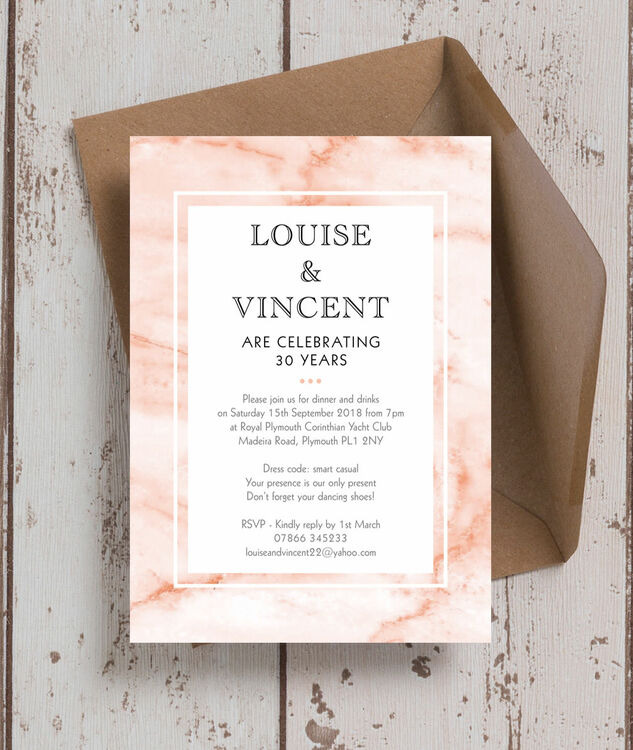 30th Wedding Anniversary Invitations: Blush Marble 30th / Pearl Wedding Anniversary Invitation