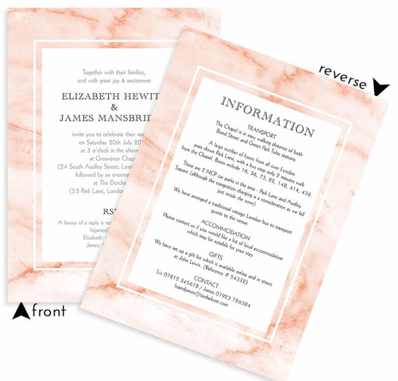 Blush Marble Wedding Invitation from £1.00 each
