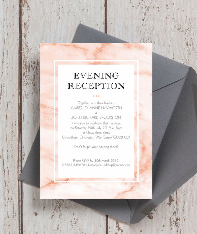 blush marble evening reception invitation from 0 85 each