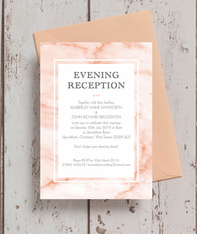 Blush Marble Evening Reception Invitation From 085 Each