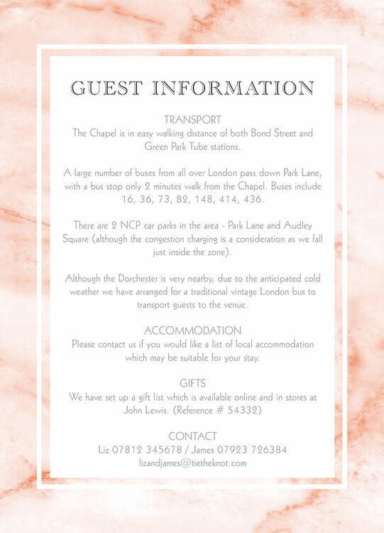 Blush Marble Guest Information Card From 163 0 75 Each