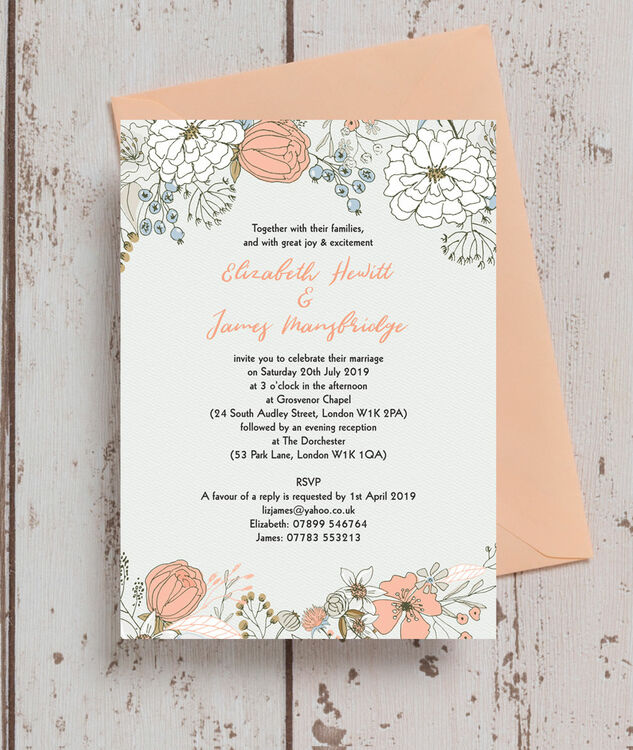 Wild Flowers For Wedding: Wild Flowers Wedding Invitation From £1.00 Each