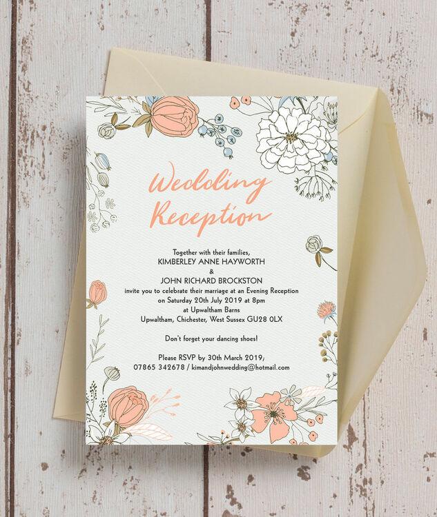 Wedding Reception Only Invitations: Wild Flowers Evening Reception Invitation From £0.85 Each