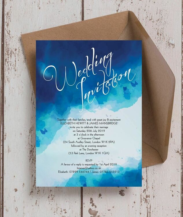 blue watercolour wedding invitation from 1 00 each