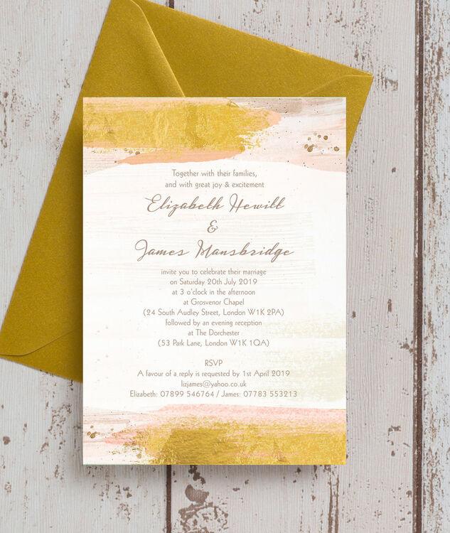 blush  u0026 gold brush strokes wedding invitation from  u00a31 00 each