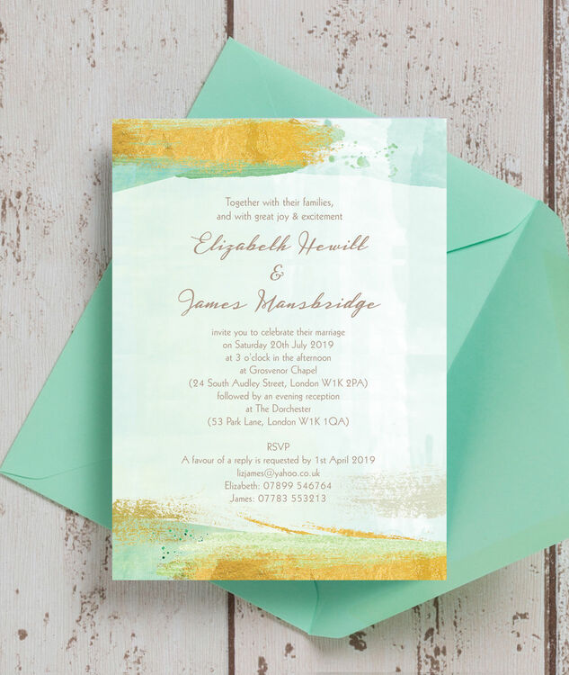 mint wedding invitations mint green amp gold brush strokes wedding invitation from 163 1 5958
