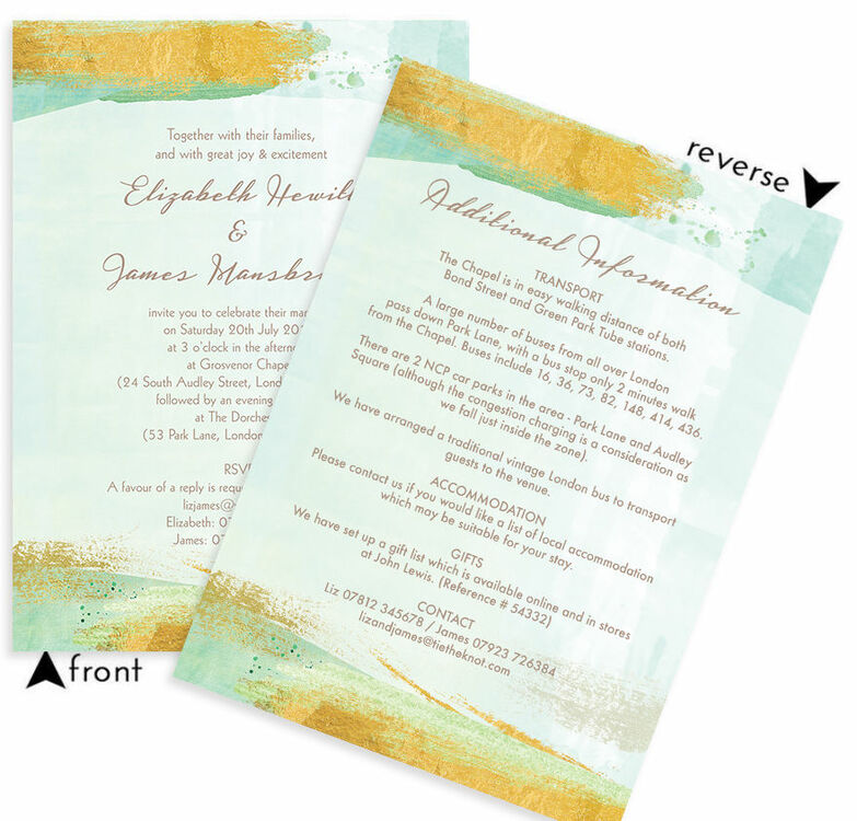Mint Green & Gold Brush Strokes Wedding Invitation from £1.00 each