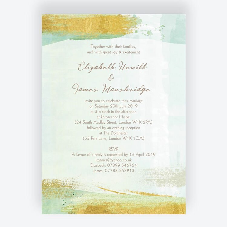 Mint Green Gold Brush Strokes Wedding Invitation From