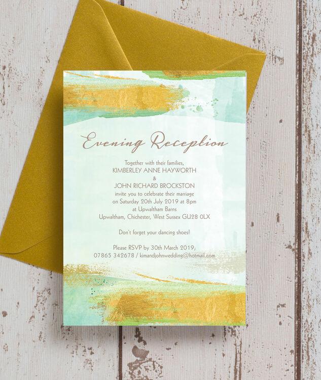 Wedding Ideas For Evening Reception: Mint Green & Gold Brush Strokes Evening Reception