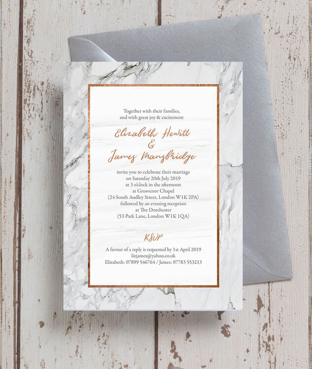 Marble Amp Copper Wedding Invitation From 163 1 00 Each