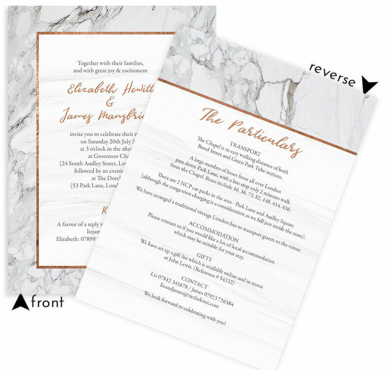 Marble copper wedding invitation from 100 each marble copper wedding invitation additional 5 stopboris Image collections