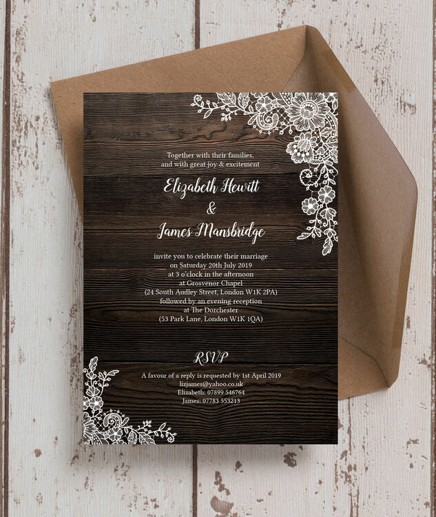 Rustic Wood & Lace Wedding Invitation From £1.00 Each