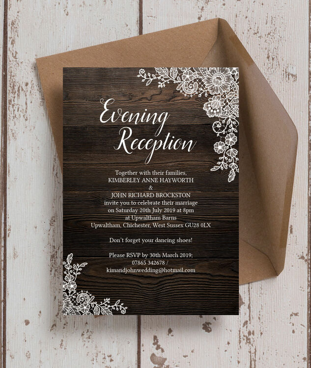 Rustic Wood Lace Evening Reception Invitation From 085 Each