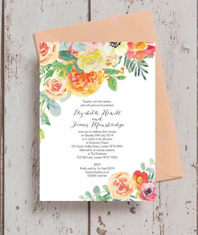 Coral And White Wedding Invitations: Coral & Blush Flowers Wedding Invitation From £1.00 Each
