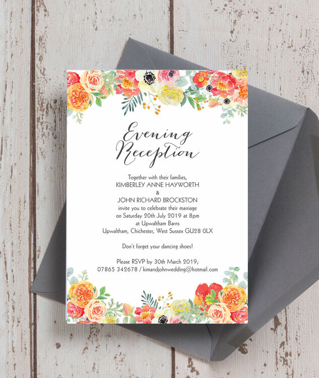 Wedding Ideas For Evening Reception: Coral & Blush Flowers Evening Reception Invitation From £0