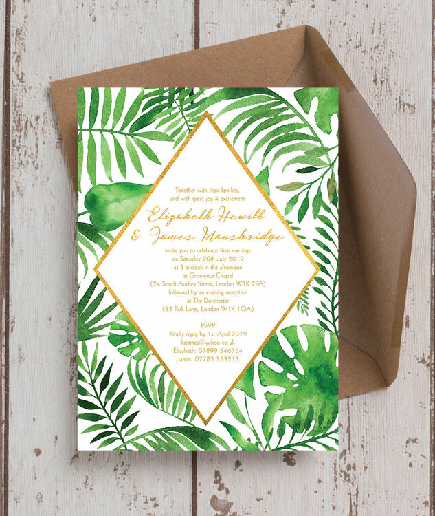 tropical leaves wedding invitation from  u00a31 00 each
