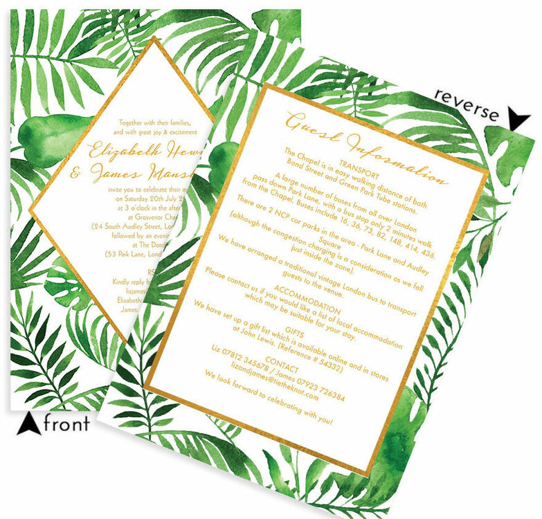 Tropical Leaves Wedding Invitation from £1.00 each