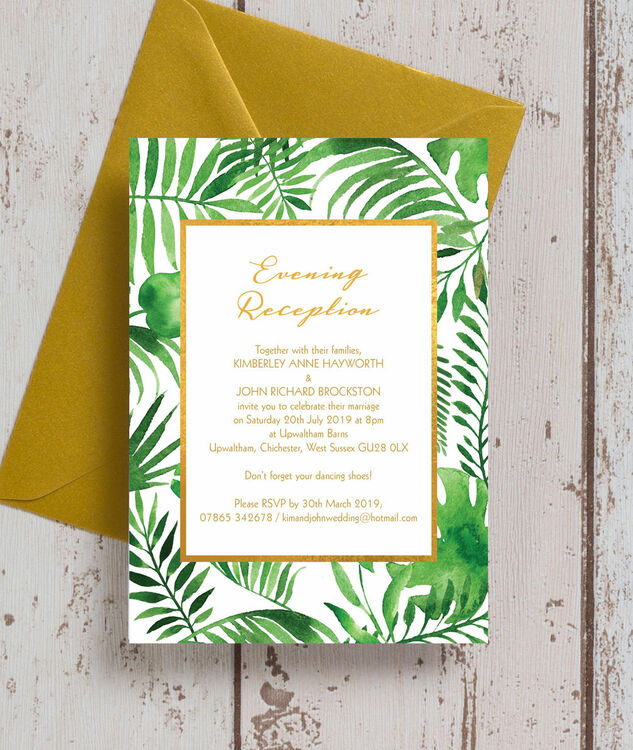 tropical leaves evening reception invitation from 0 85 each