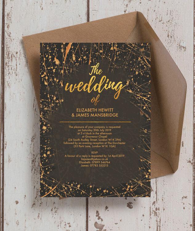 Fresh Black & Gold Abstract Wedding Invitation from £1.00 each AV58