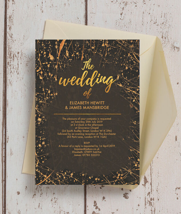 Black Amp Gold Abstract Wedding Invitation From 163 1 00 Each