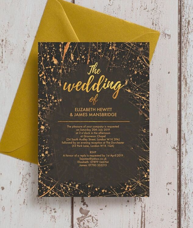 Black Gold Abstract Wedding Invitation From 1 00 Each